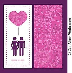 rosa, liebe, muster, abstrakt, gruß, beschaffenheit, silhouetten, vektor, schablone, einladung, paar, blumen, rahmen, karte