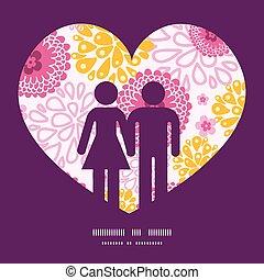 rosa, liebe, muster, paar, gruß, feld, silhouetten, vektor, schablone, einladung, blumen, rahmen, karte