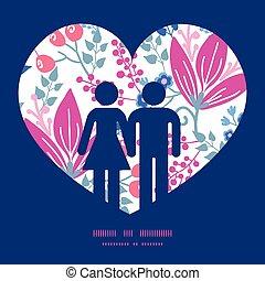 rosa, liebe, muster, paar, gruß, silhouetten, vektor, schablone, einladung, blumen, rahmen, karte