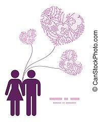 rosa, liebe, muster, paar, gruß, silhouetten, vektor, schablone, einladung, lineart, blumen, rahmen, karte