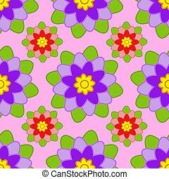 rosa, lila, muster, blätter, seamless, grüner hintergrund, blumen, rotes