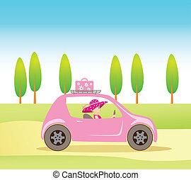 rosa, lindo, estilo, conducción, coche, vendimia, niña