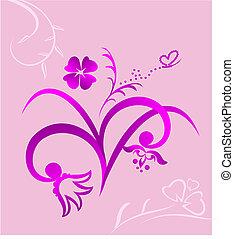 rosa, lindo, flores, plano de fondo