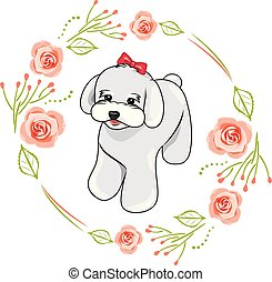rosa, lindo, marco, rosas, blanco, perrito