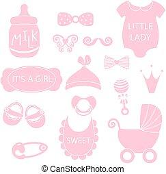 rosa, lindo, silueta, como, iconos, foto, Ilustración, juguetes,  vector,  hipster, pañal, chupete, bebé, niña, alfileres, cabina