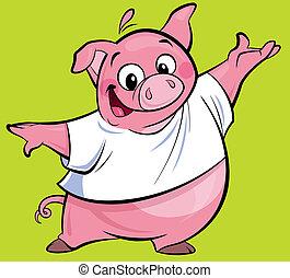 rosa, llevando, carácter, cerdo, camiseta, presentación,...