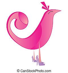 rosa, logotipo, uccello