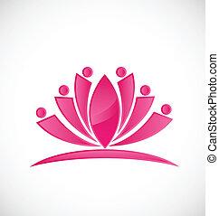 rosa, loto, lavoro squadra, logotipo