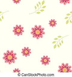rosa, luce, foglie, pattern., seamless, fiori, verde, delicato, ramo