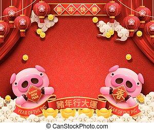 rosa, lunar, diseño, cerdito, año