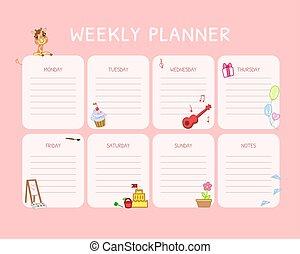 rosa, lurar, schema, planläggare, noteringen, dagligen, vektor, plats, illustration, kalender, varje vecka, organisatör, mall