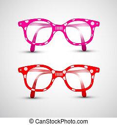 rosa, lustiges, abstrakt, punkte, vektor, brille, rotes