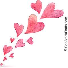rosa, målad, fjäder, flygning, vattenfärg, hjärtan
