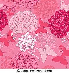 rosa, mönster, abstrakt, -, fjärilar, seamless, färger, bakgrund, oavgjord, hand, silhouettes, blomningen