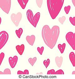 rosa, mönster, abstrakt, seamless, bakgrund., hjärtan, vit