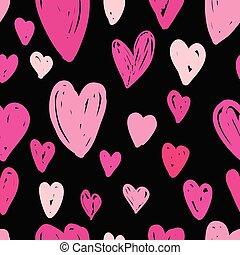 rosa, mönster, abstrakt, seamless, bakgrund., svart, hjärtan
