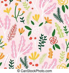 rosa, mönster, bladen, seamless, blomningen, bakgrund, bär