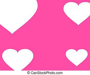 rosa, mönster,  -,  seamless, bakgrund, hjärtan, vit