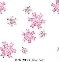 rosa, mönster,  seamless, bakgrund, vit, snöflinga
