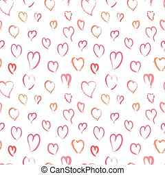 rosa, mönster, seamless, hand, hjärtan, oavgjord
