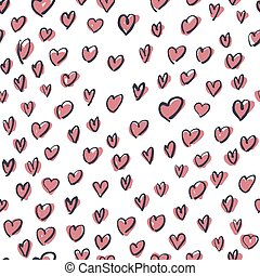 rosa, mönster, seamless, hand, oavgjord, hjärtan