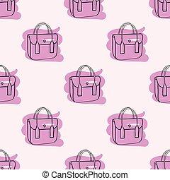rosa, mönster, seamless, hand väska, oavgjord