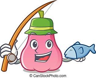 rosa, maçã, pesca, caricatura, mascote