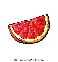 rosa, maduro, toronja, cuarto, segmento, naranja, pedazo, rojo