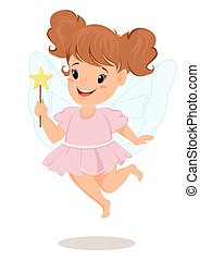 rosa, magia, wand., fata, vestire, ragazza