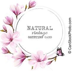rosa, magnolia., naturale, vendemmia, augurio, vector., scheda