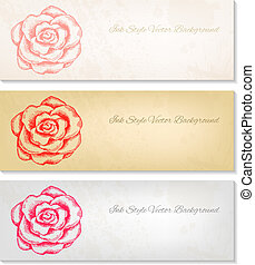 rosa, mano, vettore, artistico, disegnato, bandiere