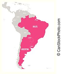 rosa, mapa, argetina., miembro, uruguay, diciembre, since,...