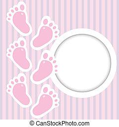 rosa, marco, con, bebé da paso