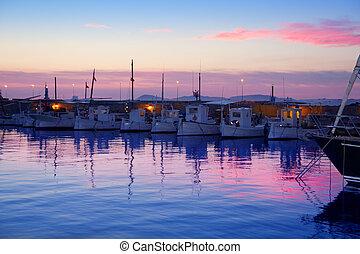 rosa, marina, formentera, sonnenuntergang, hafen