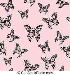 rosa, mariposas
