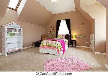 rosa, marrone, bambini, walls., letto, camera letto, ragazza bambino