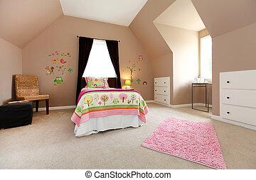 rosa, marrone, grande, interno, white., camera letto, ragazza bambino