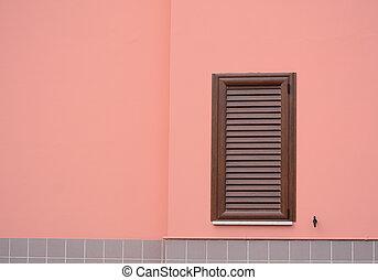 rosa, marrone, otturatore, parete