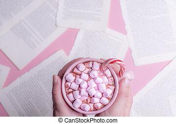 rosa, marshmallows, räcker, räcka kopp