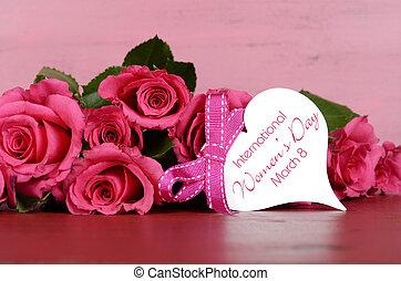 rosa, marzo, regalo, 8, rosas, vendimia, etiqueta, fondo., día, madera, internacional, mensaje, womens