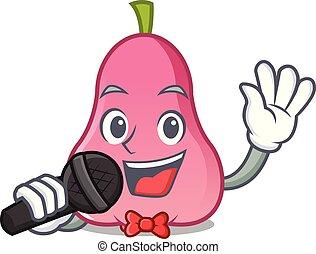 rosa, mascote, cantando, caricatura, maçã