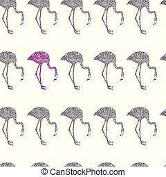 rosa, matita, fenicottero, grigio, seamless, fondo, disegnato, bianco, mano