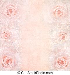 rosa, matrimonio, fondo, con, rose