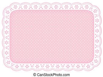 rosa, matta, polka, plats, tallriksunderlägg, punkt, spets