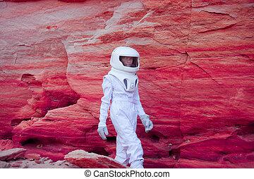 rosa, matto, pianeta, immagine, effetto, astronauta, futuristico, intonando