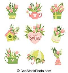 rosa, mazzolini, primavera, collezione, fiori, vettore, disegno, illustrazione, sagoma, floreale, ciao