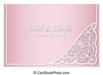 rosa, meddelande, spets, bröllop, blommig, silver