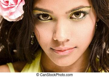 rosa, meisje, indiër, roos