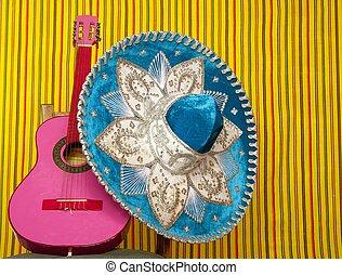 rosa, mexicano, guitarra del mariachi, bordado, sombrero