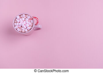 rosa, mini, het dricka, marshmallows